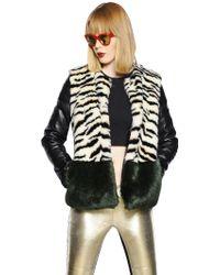 De'Hart Zebra Faux Fur Leather Jacket - Multicolour