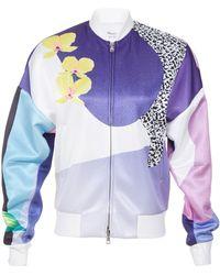 3.1 Phillip Lim Long Sleeve Floral Bomber Jacket - Lyst