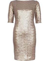 River Island Gold Sequin Bodycon Dress - Lyst