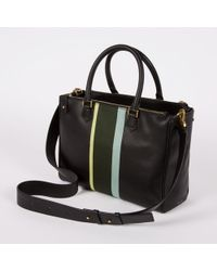 Paul Smith Black Calf Leather Double Zip Tote Bag With Maharam Stripe Fabric - Lyst