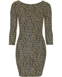Topshop Glitter Animal Bodycon Dress - Lyst