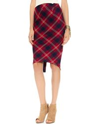 Free People Geometric Plaid Pencil Skirt Washed Black Combo - Lyst