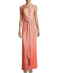 Halston Heritage Sleeveless Gown With Tie & Slit Detail - Lyst
