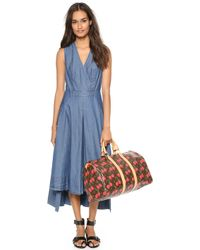 Robert Rodriguez Chambray Seamed Maxi Dress Blue Chambray - Lyst