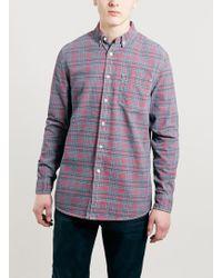 Topman Red Printed Check Denim Long Sleeve Shirt - Lyst