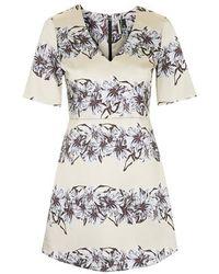 Topshop Flower Satin A-Line Dress - Lyst