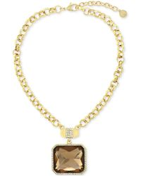 Vince Camuto - Gold-plated Champagne Stone And Pavé Crystal Pendant Necklace - Lyst
