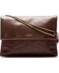 Lanvin Aubergine Leather Chain Shoulder Bag - Lyst