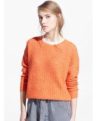 Mango Orange Openwork Sweater - Lyst