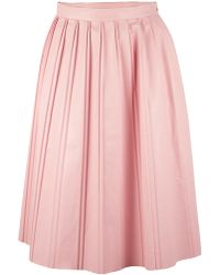 Suno Pleated Faux Leather Skirt pink - Lyst