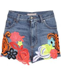 Christopher Kane Embroidered Denim Shorts - Lyst