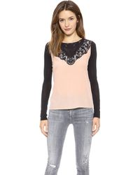 Diane Von Furstenberg Long Sleeve Top with Lace  Pebbleblack - Lyst