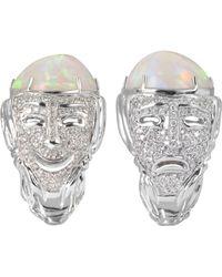 Bernard Delettrez - Drama Masks Gold Pave Ring W/opal And Diamonds - Lyst