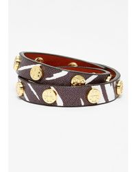 Tory Burch Logo Leather Wrap Bracelet - Tabora Print/ Shiny Brass - Lyst