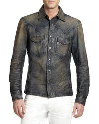 Ralph Lauren Black Label Western Distrssed Leather Shirt - Lyst