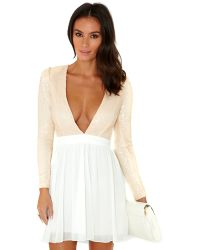 Missguided Giovanna Vneck Sequin Top Chiffon Skater Dress in White - Lyst