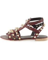 Balenciaga Studded Leather Buckle Sandal - Lyst