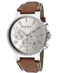 Asprey - No8 Mens Silver Metallic Dial Automatic Chronometer Watch with Chronograph Date Asprey Watch - Lyst