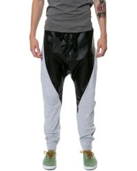 Gag Threads Heather Gray Cotton  Leather Detail Drop Crotch Joggers  Back and Stash Pocket - Lyst