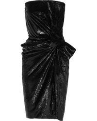 Lanvin Strapless Metallic Velvet Dress - Lyst