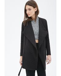 Forever 21 Textured Shawl Collar Wrap Jacket - Lyst