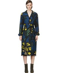 Burberry Prorsum Blue and Yellow Silk Floral Caban Coat - Lyst