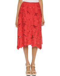 Cynthia Rowley | Oversized Floral Lace Midi Skirt - Red | Lyst