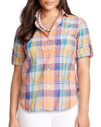 Ralph Lauren Lauren Plus Madras Plaid Cotton Shirt - Lyst