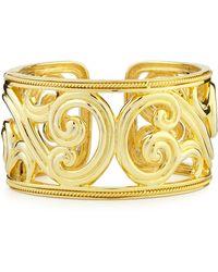 Eli Jewels Paisley 18k Gold Hinged Cuff Bracelet - Metallic