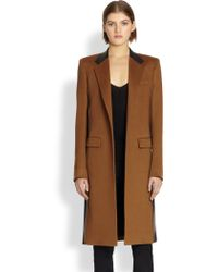 Reed Krakoff   Leather-Trimmed Cashmere & Wool Coat   Lyst
