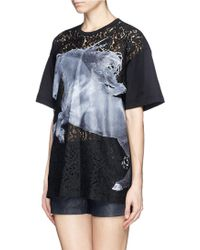 No 21 Horse Print Floral Lace Panel Tshirt - Lyst