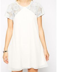 Love Swing Dress With Lace Top - White