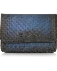 Santoni - Blue Leather Business Card Holder - Lyst