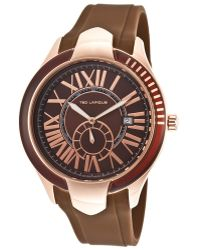 Ted Lapidus - Men's Brown Rubber Brown Dial Rose-tone Case - Lyst