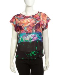 Nicole Miller Colorblocked Floral Print Georgette Blouse - Lyst