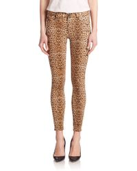 Hudson Nico Mid-Rise Animal-Print Super Skinny Jeans - Lyst
