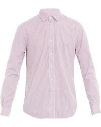 Glanshirt Kent Striped Cotton Shirt - Red