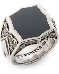 Stephen Webster Onyx Sterling Silver Ace Ring - Metallic