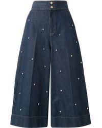 MUVEIL Embellished Denim Culottes - Blue