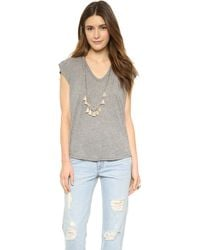 Enza Costa Sleeveless Cropped V Neck Tee - Heather Grey - Lyst
