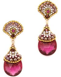 Miguel Ases Scallop Stone Drop Earrings Pink Multi - Lyst