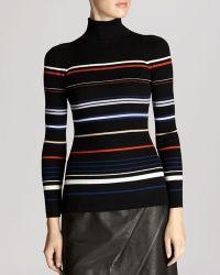 Karen Millen Sweater - Striped Ribbed Turtleneck - Lyst