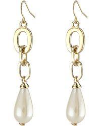 Lauren by Ralph Lauren Bar Harbor Metal Link W Pearl Linear Earrings - Lyst
