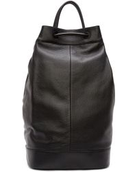 Juun.J - Black Leather Drawstring Backpack - Lyst