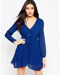 Madam Rage - Wrap Front Dress With Sheer Sleeves - Lyst