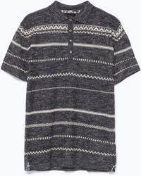 Zara Jacquard Polo Shirt - Lyst