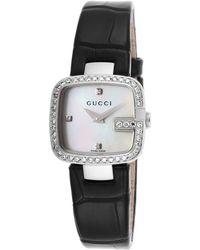 Gucci Women'S G- Diamond Black Genuine Alligator White Mop Dial black - Lyst