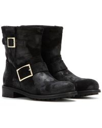 Jimmy Choo Youth Suede Biker Boots - Lyst