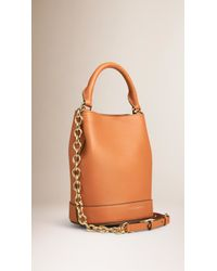 87057240af5f Burberry - The Small Bucket Bag In Leather Light Toffee - Lyst