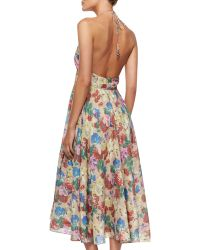 Zimmermann Haze Floralprint Tiefront Maxi Dress - Lyst